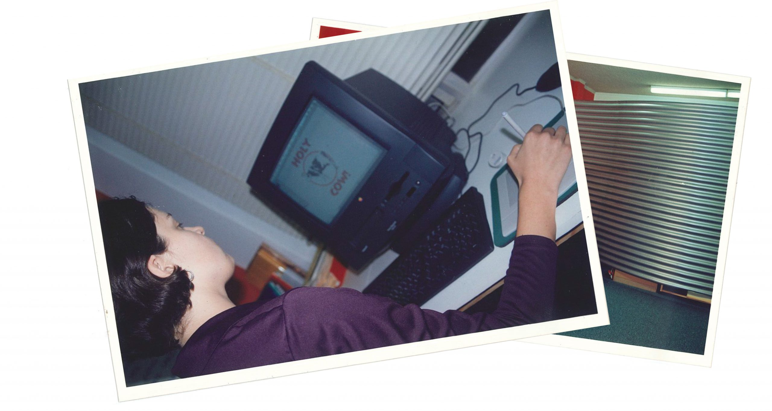 Our multi-talented Creative Director, Emma Gray in 1998 with her brand new, much-admired black Apple Power Mac 5500 displaying our first logo