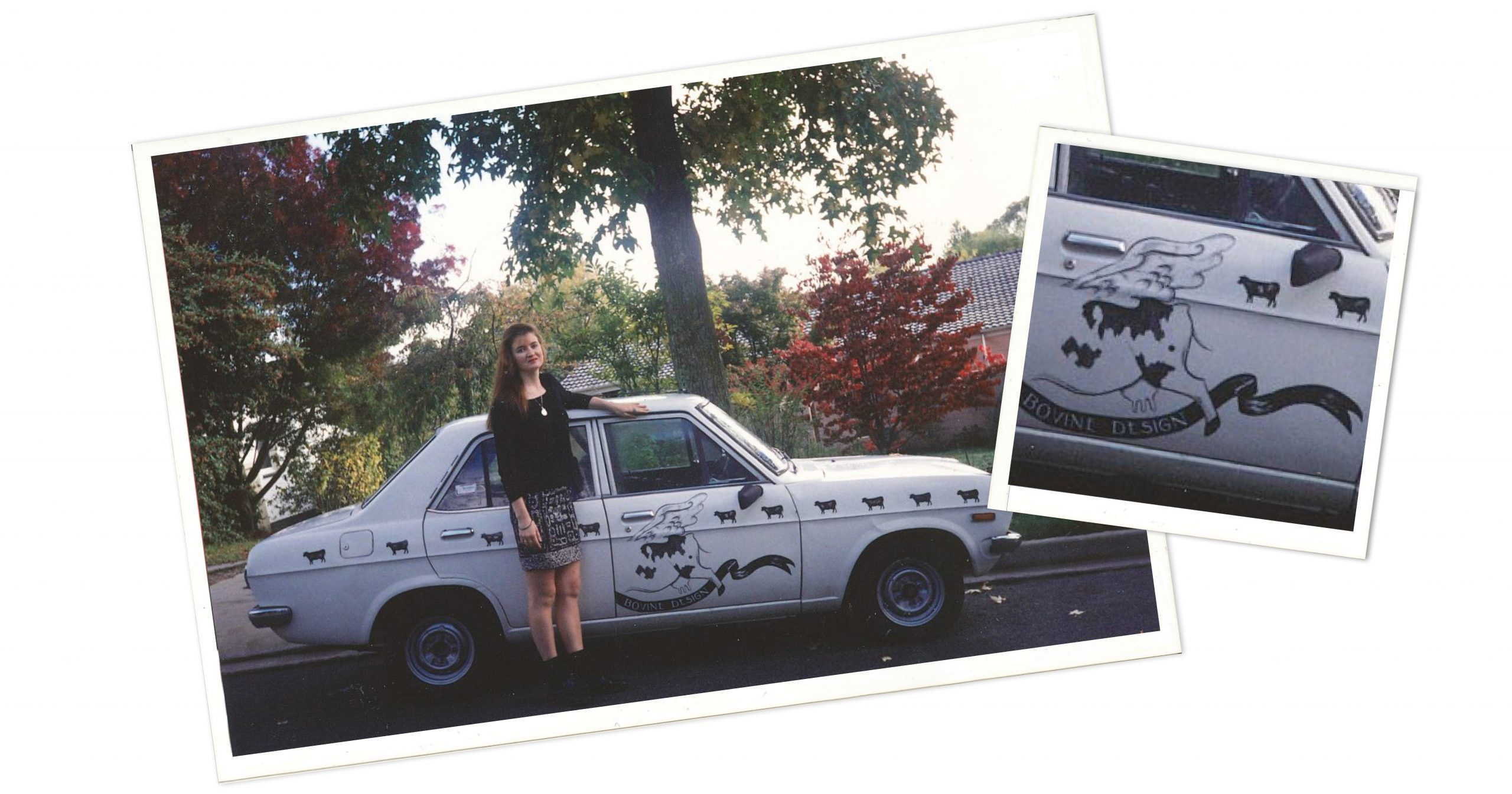 "My first ""company car"", Daisy Moo, a hand-painted Datsun 1200"